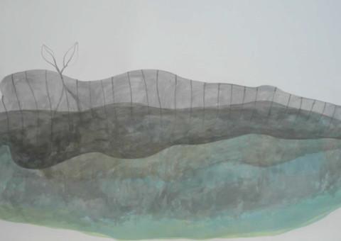 Inchiostro di China e pittura acrilica su carta Fabriano, 100x180cm circa