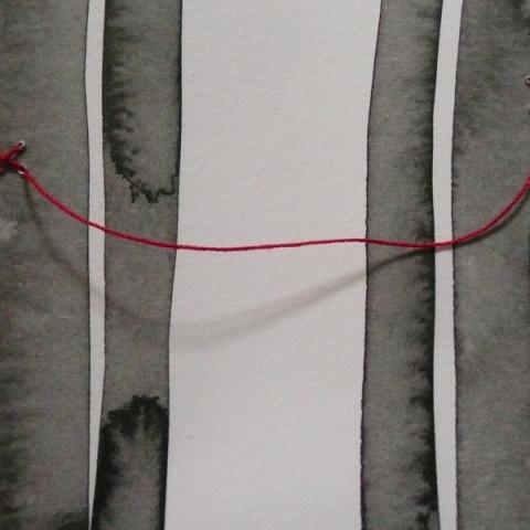 FRATELLI DI SANGUE, 2015 - Lavis d'inchiostro su carta e filo rosso | Dimensioni variabili