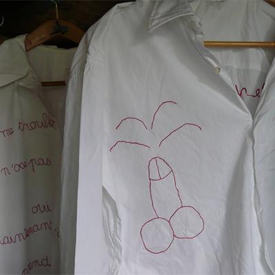 Au pays des hommes-fleuve - Déshabillés, 1996 | Vestiti ricamati col filo rosso