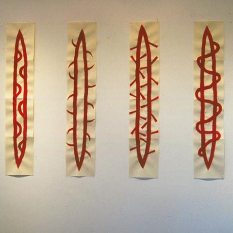 À mon seul desir - Peaux-rouges, 1992. Pittura acrilica su carta (30x120cm).
