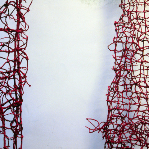 À mon seul desir - Tendres liens, 1995. Ficelle nouée, cire et résine, crochets en fer (dimensions variables).