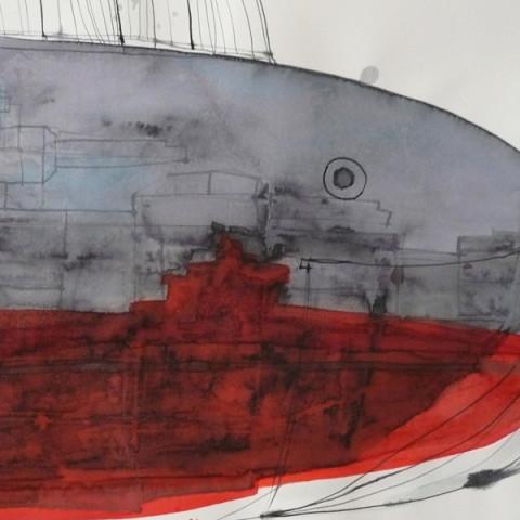 Isola/Esodo/Esilio | Battaglia navale, 2011/12. Disegni con inchiostri Ecoline e inchiostra di China su carta (42x55 cm cad.).