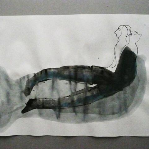 Isola/Esodo/Esilio | Eaux-vives, 2008. Inchiostro di China e pittura acrilica su carta (30x42cm ch.).