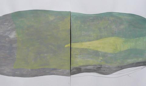 Isola/Esodo/Esilio | Verso il Grande Mare, 2013. Disegni all'inchiostro di China e pittura acrilica su carta Fabriano 50x140cm, in 2 parti.
