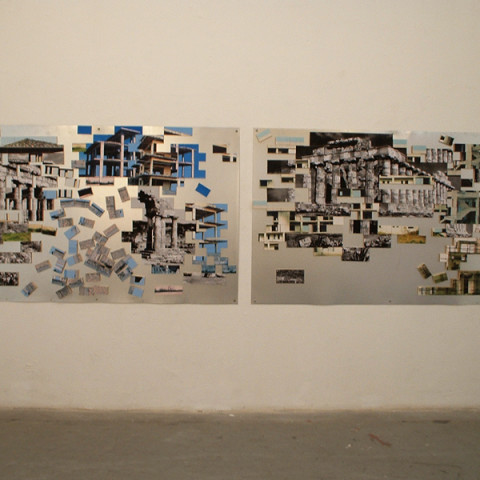 Quoi de nouveau sous le soleil? - Paesaggio con rovine, Elementi mobili di legno ricoperti di frammenti fotografici, calamiti e lastra di ferro zincato (130x400 cm), 2005.