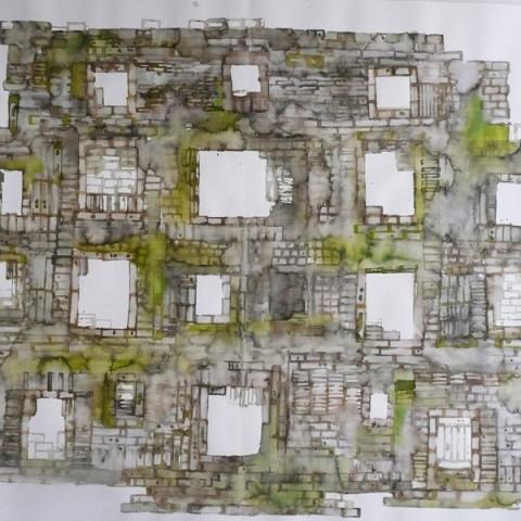 Quoi de nouveau sous le soleil? - Torri/rovine, 2009. Disegni all'inchiostro Ecoline su carta Murillo (100x150 cm).