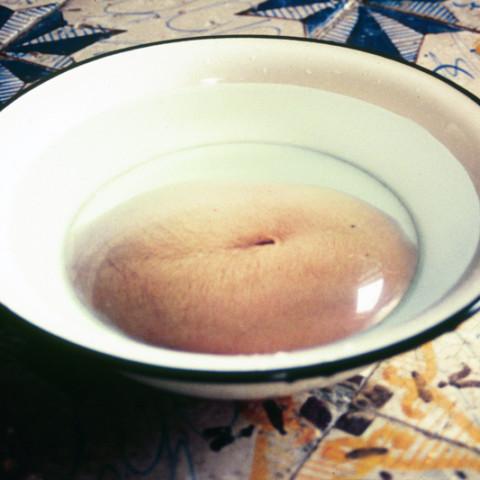 Sirene - Naissances, 1997. Bacinelle in alluminio, fotografie sotto lenti di vetro convesse, acqua. Installazione.