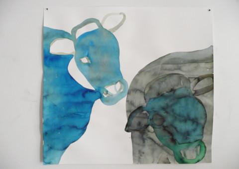 Transiti/Incroci - Flying Dutch Cows. Inchiostri ecoline su carta murillo (70x70cm circa).