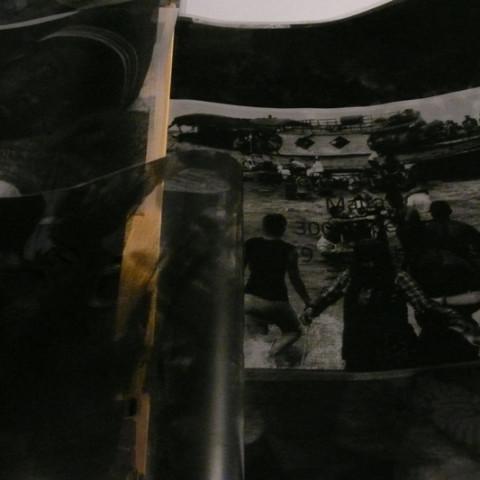 Dal profondo del mare (ad memoriam). Fotocopie B/N su carta poliester trasparente A3 e carta da lucido. Vari fascicoli rilegati di lato ed installati ad onda, cad.42x60cm (chiuso).